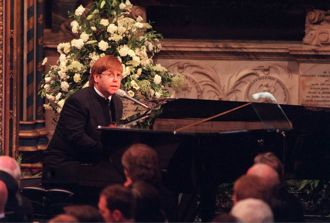 Sir Elton John singing 'Candle In The Wind' at the funeral of Diana, Princess of Wales
