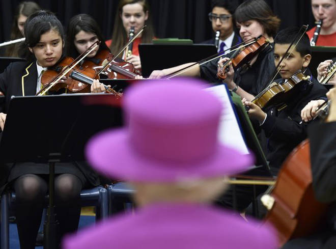 Her Majesty Queen Elizabeth II watches the National Youth Orchestra of Great Britain, Classic FM's Orchestra of Teenagers