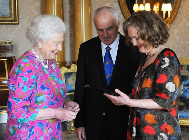 The Queen with Sir Peter Maxwell Davis and Dame Emma Kirkby in 2011.