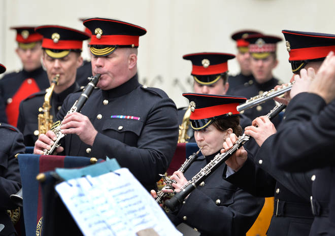 The Grenadier Guards Band performs at Wellington Barracks, 2017.