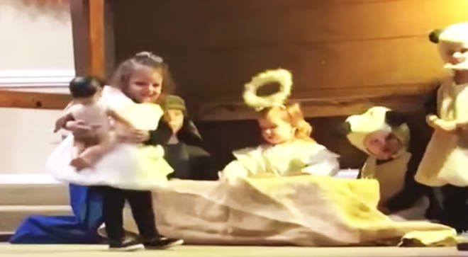 The sheep decided to steal baby Jesus from the manger in this nativity play