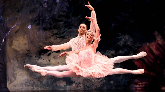 Brandon Lawrence plays The Prince and Céline Gittens plays The Sugar Plum Fairy in Tchaikovsky's Nutcracker with Birmingham Royal Ballet 2019