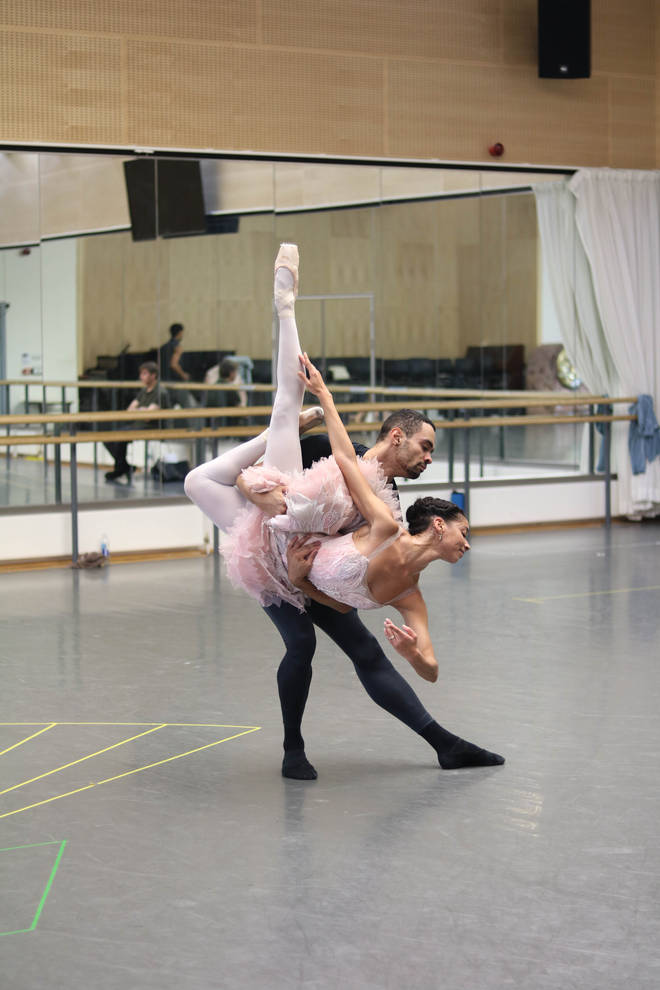 Brandon Lawrence and Céline Gittens rehearse for The Nutcracker