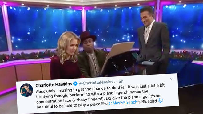 Charlotte Hawkins performs a duet with pianist Alexis Ffrench on Good Morning Britain