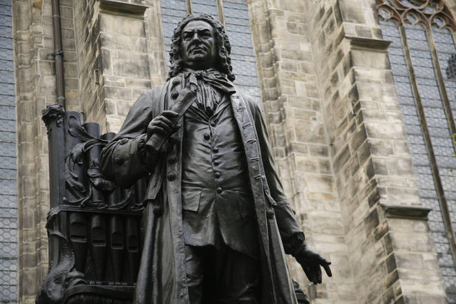 Statue of JS Bach in the courtyard of St Thomas Church in Leipzig, Germany, where he was organist and musical director AD 1724