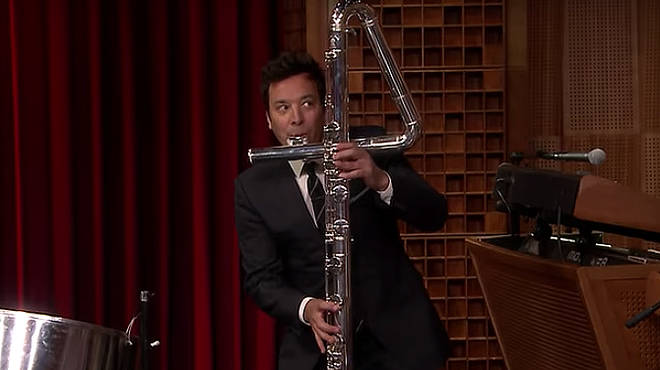 Jimmy Fallon plays the contrabass flute on The Tonight Show