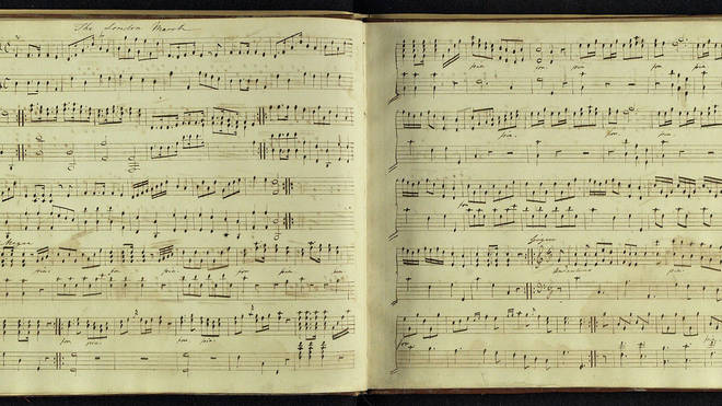 'The London March', manuscript music copied by Jane Austen