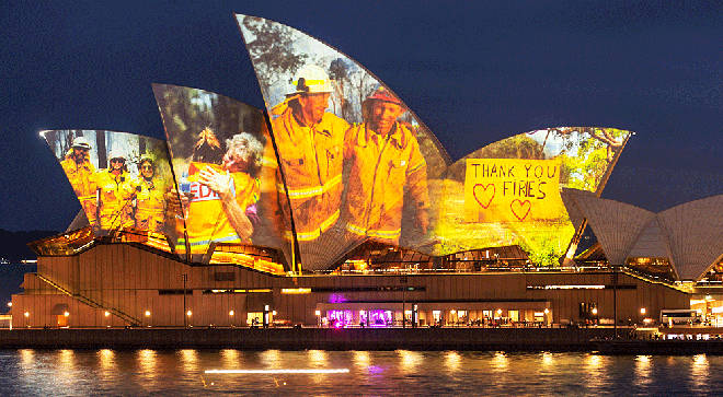 Sydney Opera House glows with images of heroic bushfire firefighters