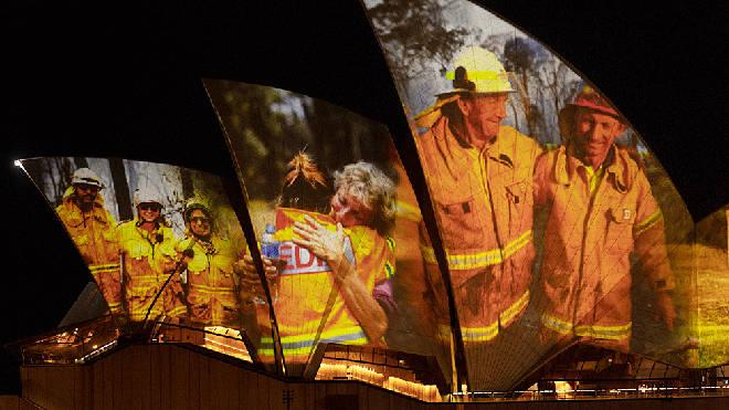 Heart-warming photographs of heroic volunteers illuminate Sydney Opera House