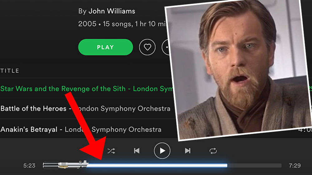 When you listen to Star Wars on Spotify, the play bar is a legit LIGHTSABER