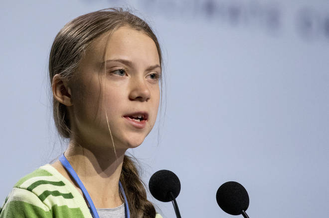 Greta Thunberg gives a speech at the plenary session during the COP25 Climate Conference