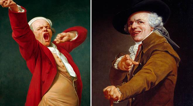 Joseph Ducreux's self-portraits: Yawning and Portrait de l'artiste sous les traits d'un moqueur