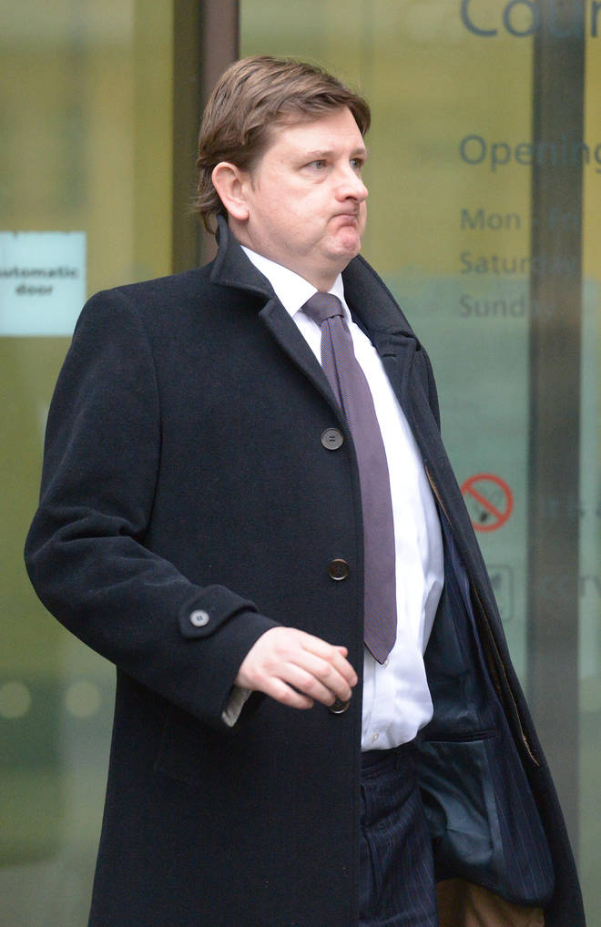 Matthew Feargrieve leaves Westminster Magistrates Court following his trial for assault