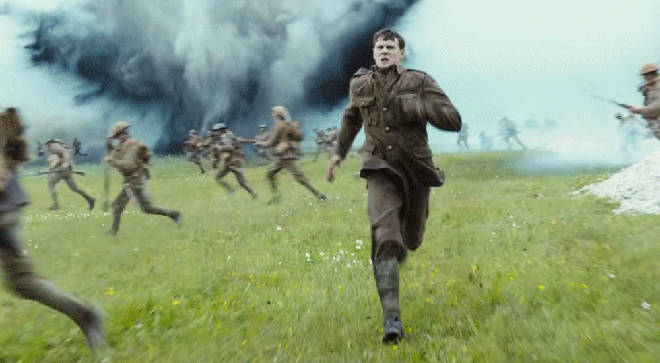 Lance Corporal Schofield sprints through the battlefield in 1917