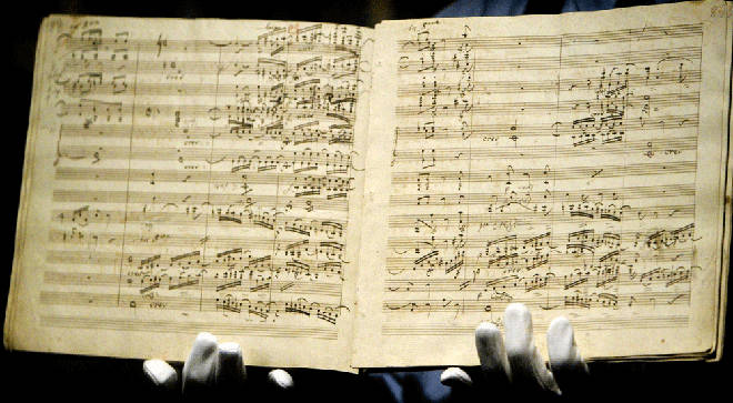 The manuscript for Beethoven's Ninth Symphony is sold for £1.9million at a Sotheby's auction