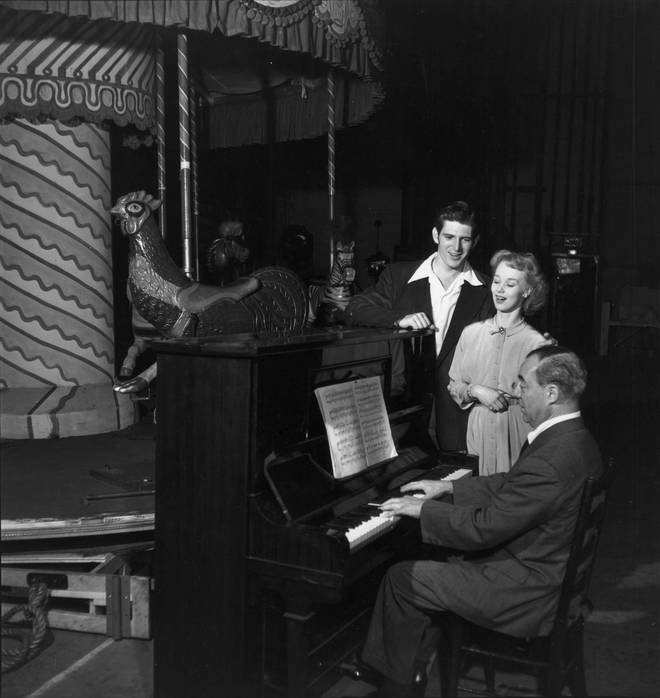 Richard Rodgers, Iva Withers and Stephen Douglass in rehearsal for 'Carousel'
