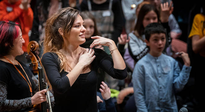 Violinist Nicola Benedetti, a campaigner for music education, performs with the Benedetti Foundation