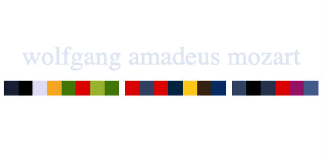Mozart's name in colour