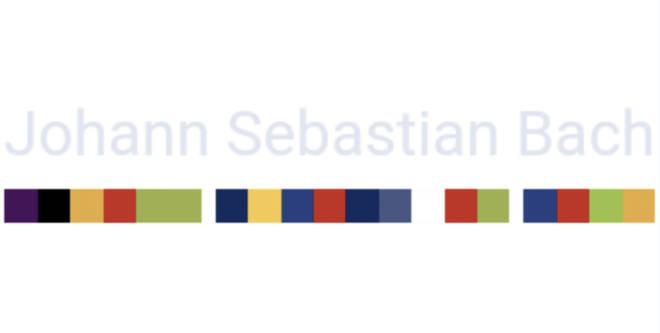 Johann Sebastian Bach's name in colour