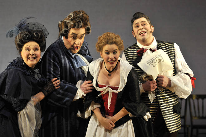 Marcellina, Dr Bartolo, Susanna and Figaro in The Marriage of Figaro