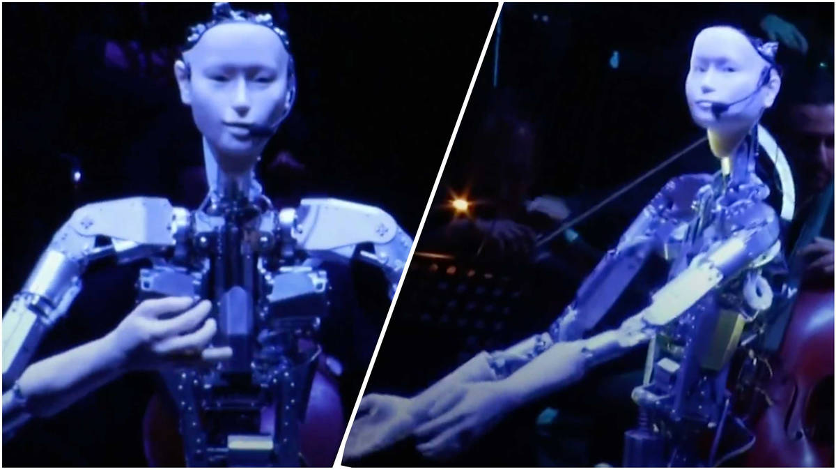 Giant humanoid robot conducts human orchestra in mildly disturbing footage