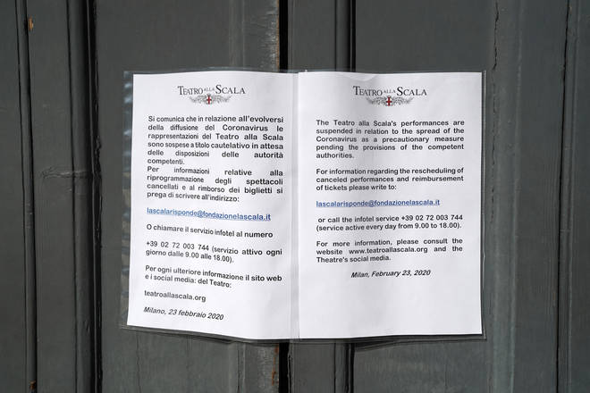 La Scala closes amid fears over coronavirus