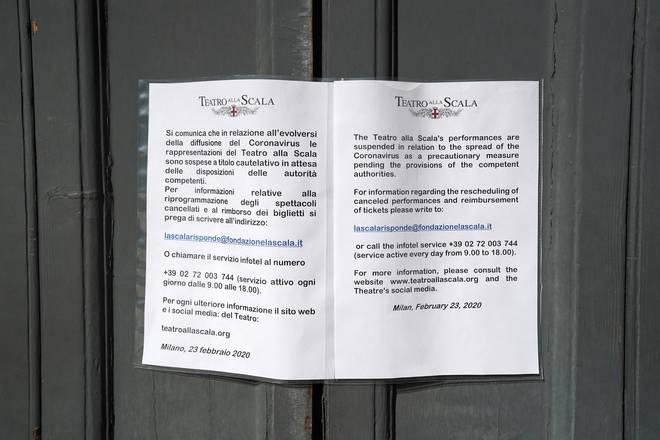 La Scala closes amid fears over coronavirus