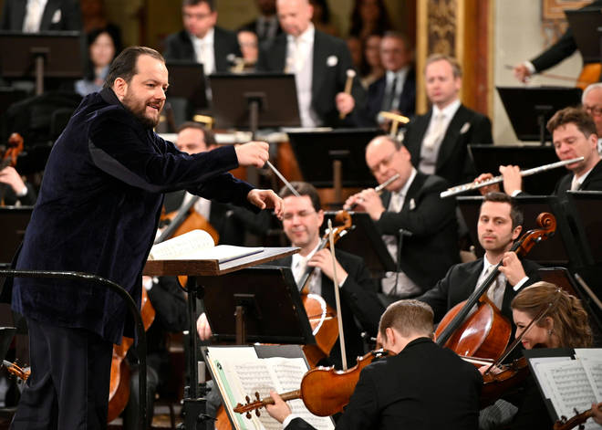 Andris Nelsons conducts the Vienna Philharmonic Orchestra during a New Year concert in Vienna, Austria