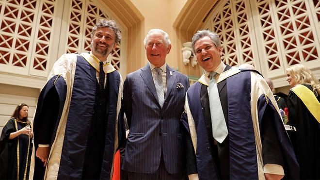 From left: Jonas Kaufmann, HRH The Prince of Wales and Sir Antonio Pappano