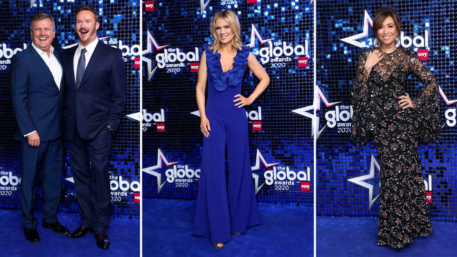 Classic FM presenters Myleene Klass, Charlotte Hawkins and Aled arrive at The Global Awards 2020, as well as singer Russell Watson, who's also performing with Aled.