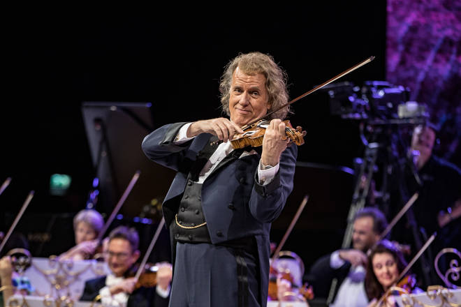 Dutch conductor André Rieu performs with his orchestra in Amsterdam