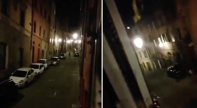 Quarantined Italian neighbours sing together across the streets during Siena lockdown