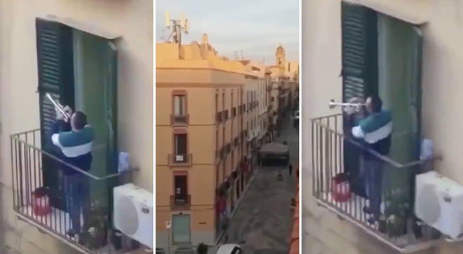 Quarantined trumpeter plays incredible 'Imagine' solo from balcony in Italy lockdown