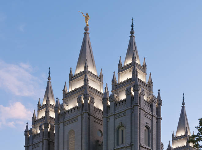 The angel statue on the temple lost its trumpet following the earthquake in Utah