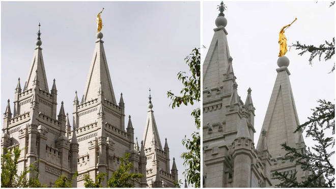 Mormon temple angel loses trumpet after earthquake in Salt Lake City