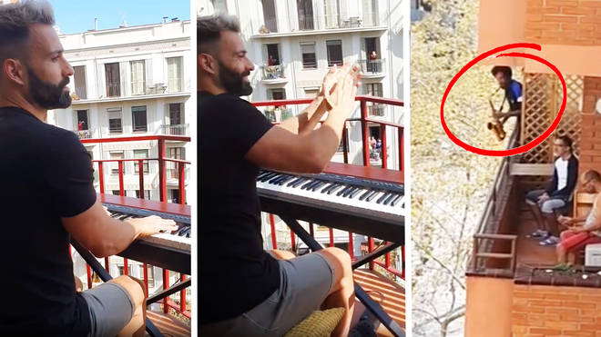 Self-isolating pianist performs the Titanic theme, to find his neighbour joins in on sax