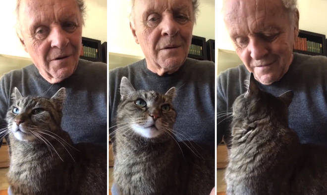 Anthony Hopkins serenades his cat while self-isolating during coronavirus pandemic