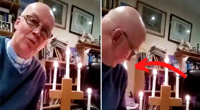 Vicar accidentally catches fire while presenting at-home Sunday Service during quarantine