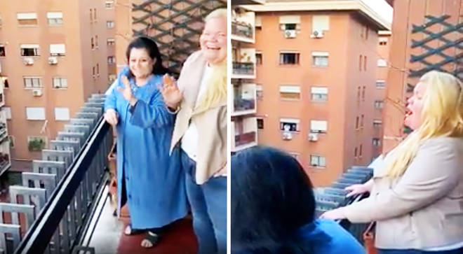 Quarantined soprano sings over the rooftops