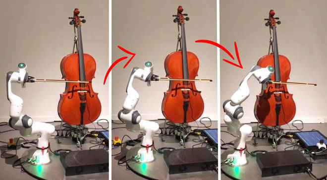 Robot plays the cello as part of Olafur Eliasson art exhibit
