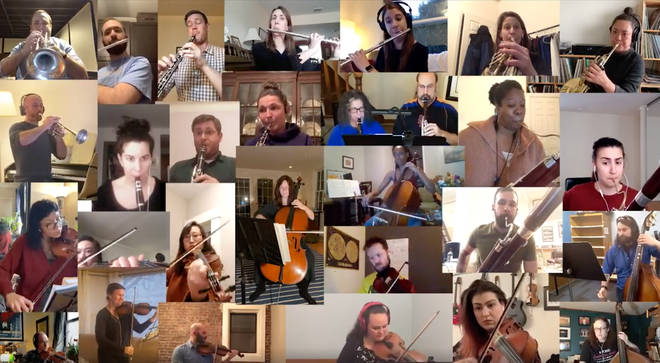 Self-isolating orchestra plays 'Ode to Joy'