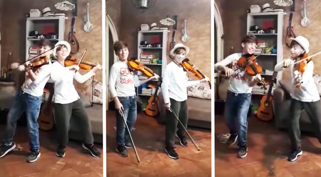 Twins perform violin duets during Italy's lockdown