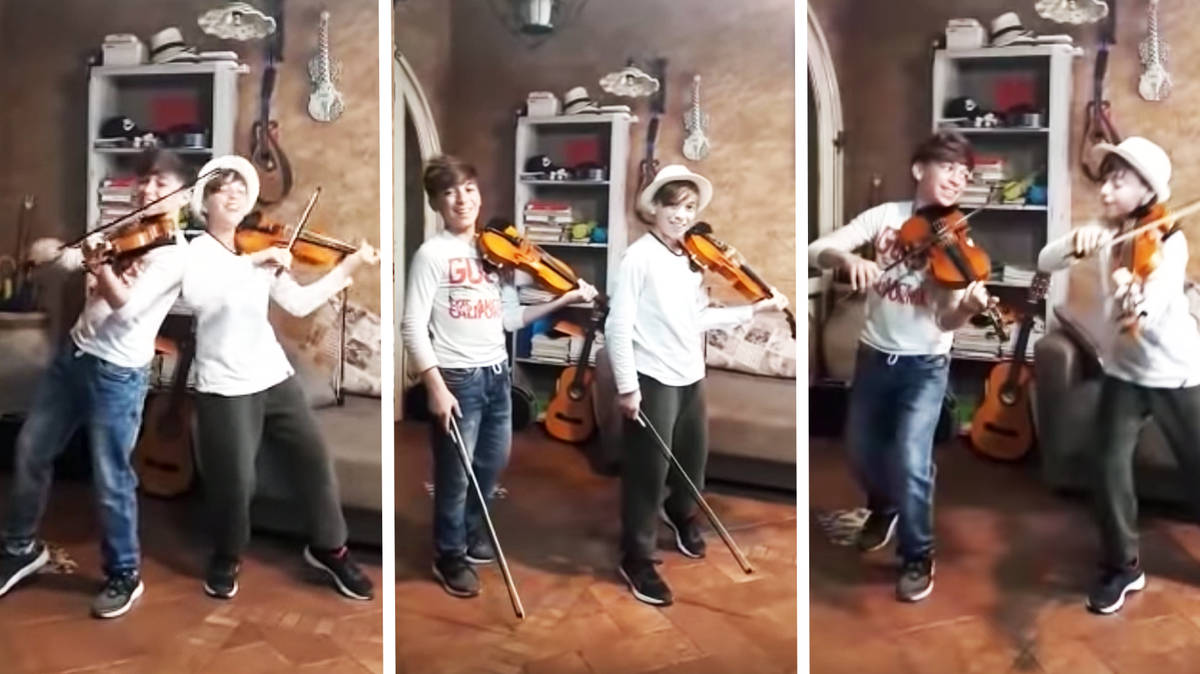 Talented 12-year-old Italian twins play infectious violin concert in quarantine
