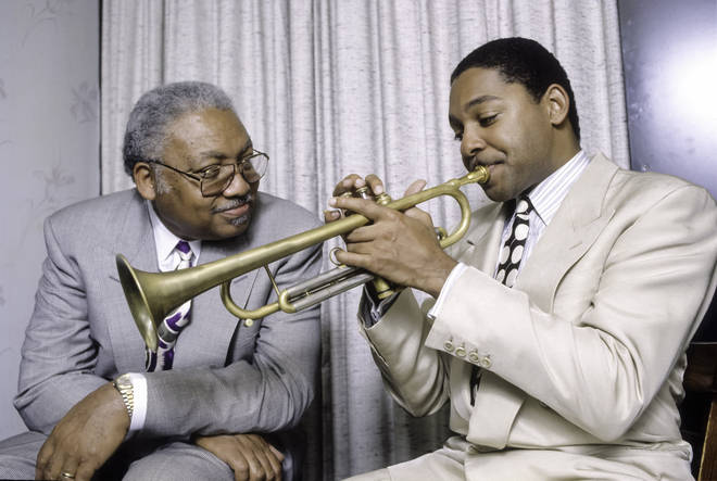 Ellis Marsalis Jr and Wynton Marsalis, backstage at The Blue Note in New York
