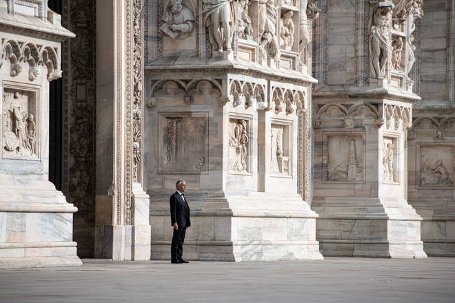 Andrea Bocelli outside the Duomo cathedral