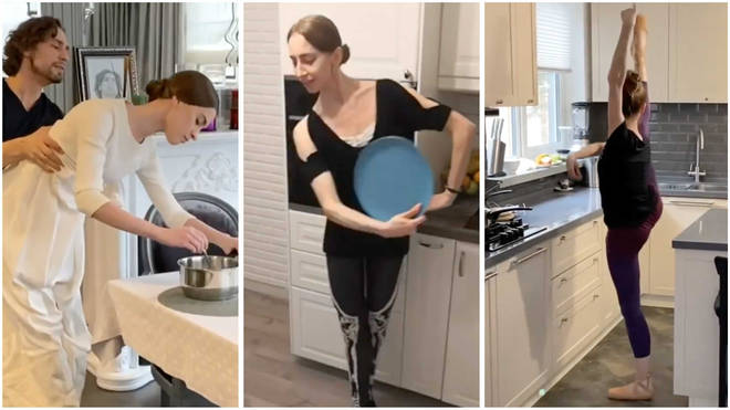 Russian ballet dancers are dancing with kitchen items to stay sane in quarantine