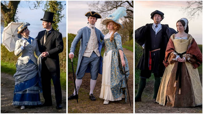 Couple go on daily walks in historical costumes to cheer up quarantined neighbours