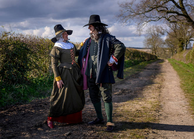 Izabela and husband Lucas Pitcher go on walks in period costume