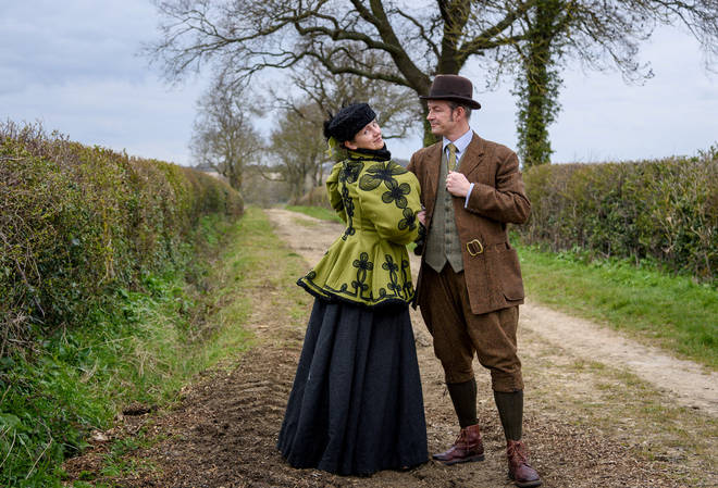 Couple go on daily walks in historical attire