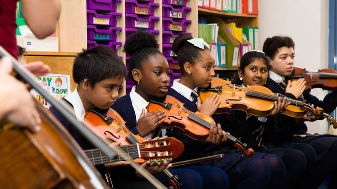 String players at St. Charles Primary School preview ABRSM Classical 100, October 2015